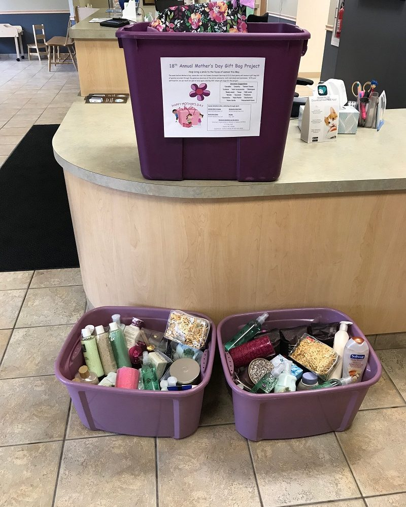 Donations for VOWS Mother's Day Basket Drive, bring in a new item and get a free nail trim